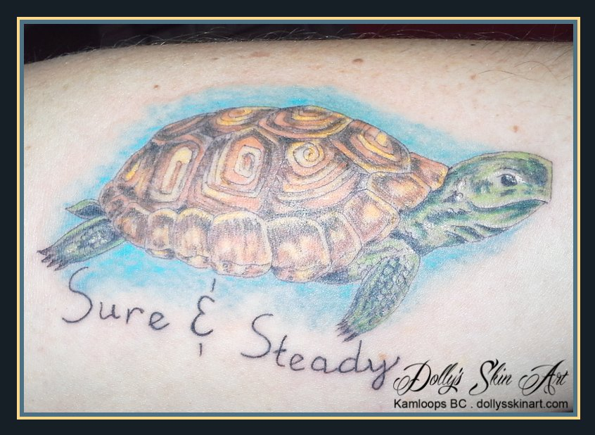 colour turtle tattoo sure and steady lettering