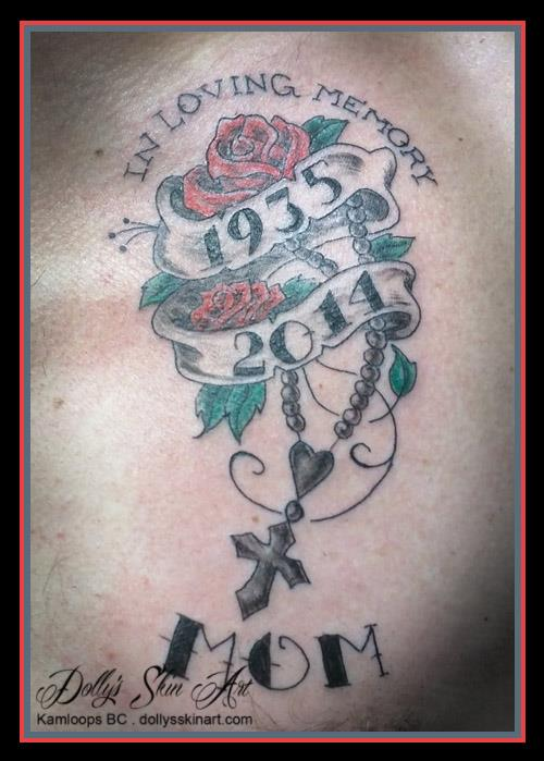 ken memorial mom rose cross chest colour tattoo