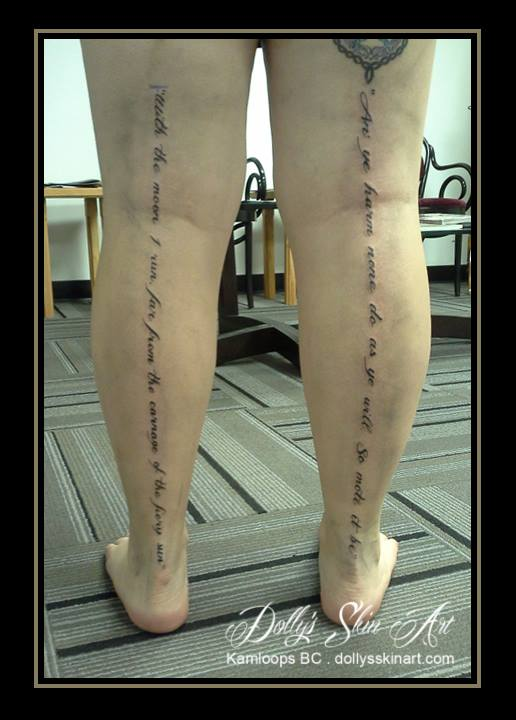 font tattoo lettering back of leg