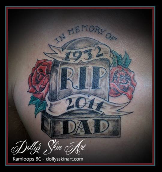 rose banner dad memorial tombstone colour tattoo