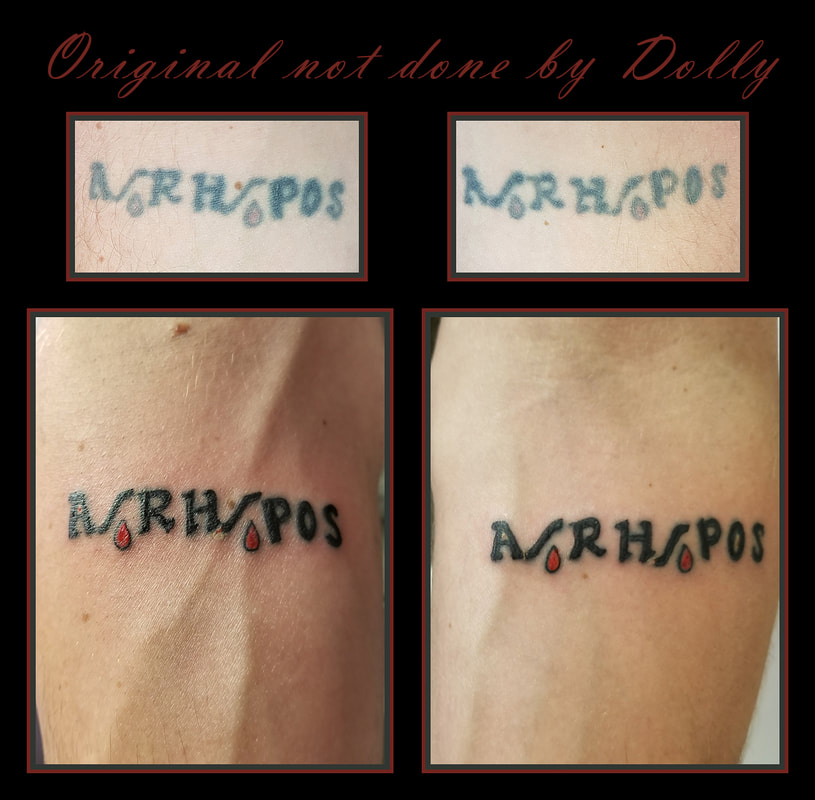 A/RH/POS blood type tattoo old new rejuvenation coverup black red arm kamloops dolly's skin art