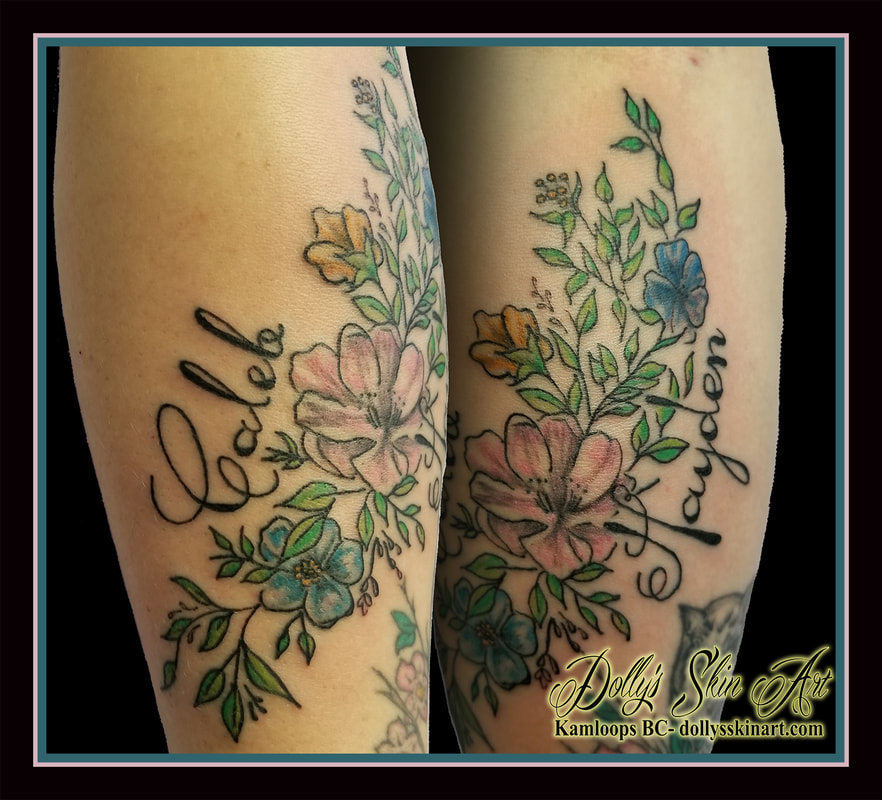 flowers leaves roses colour green blue pink yellow children caleb hayden font lettering kamloops tattoo dolly's skin art