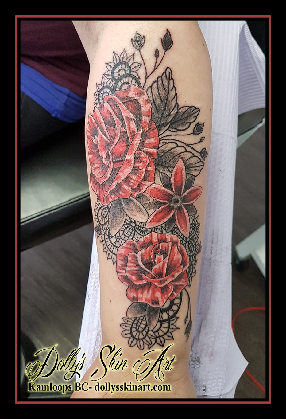 flowers rose leaves lace mandala arm colour forearm tattoo kamloops dolly's skin art