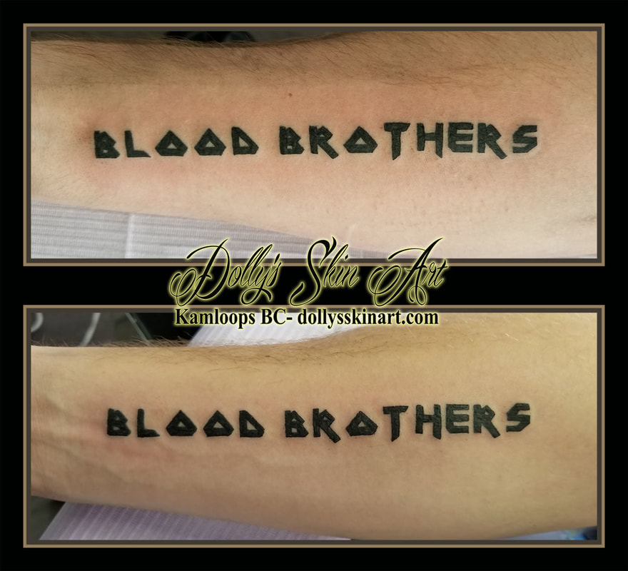 blood brothers iron maiden font lettering black script brother matching forearm tattoo kamloops dolly's skin art