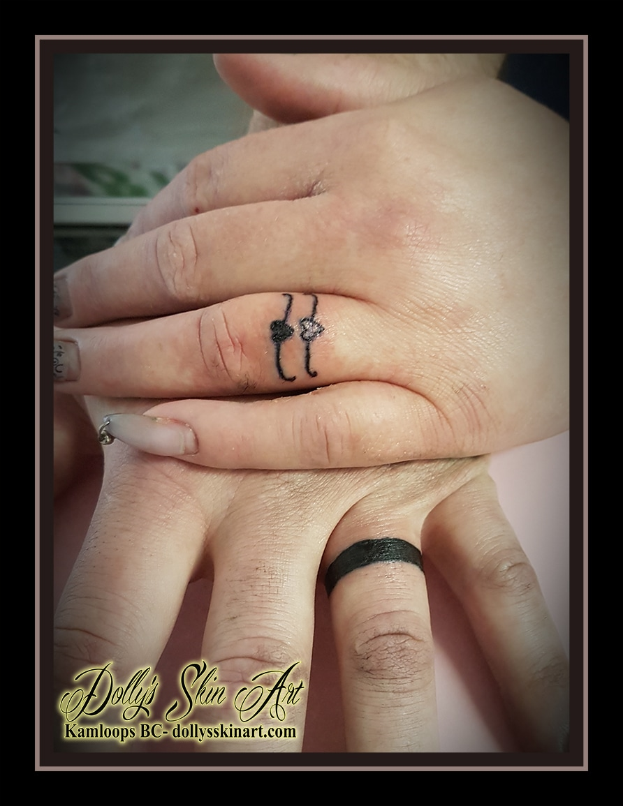 wedding ring finger husband wife tattoo black heart band kamloops dolly's skin art