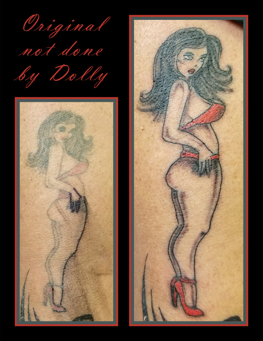 rejuvenated pin up girl old redo cover up update black grey red white kamloops dolly's skin art