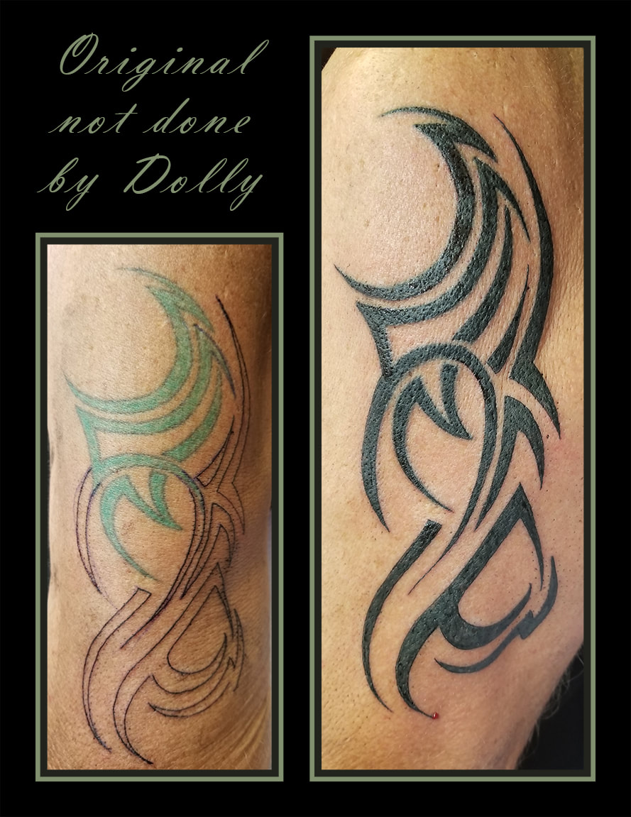 black arm bicep tribal custom cover up rejuvenate old tattoo kamloops dolly's skin art