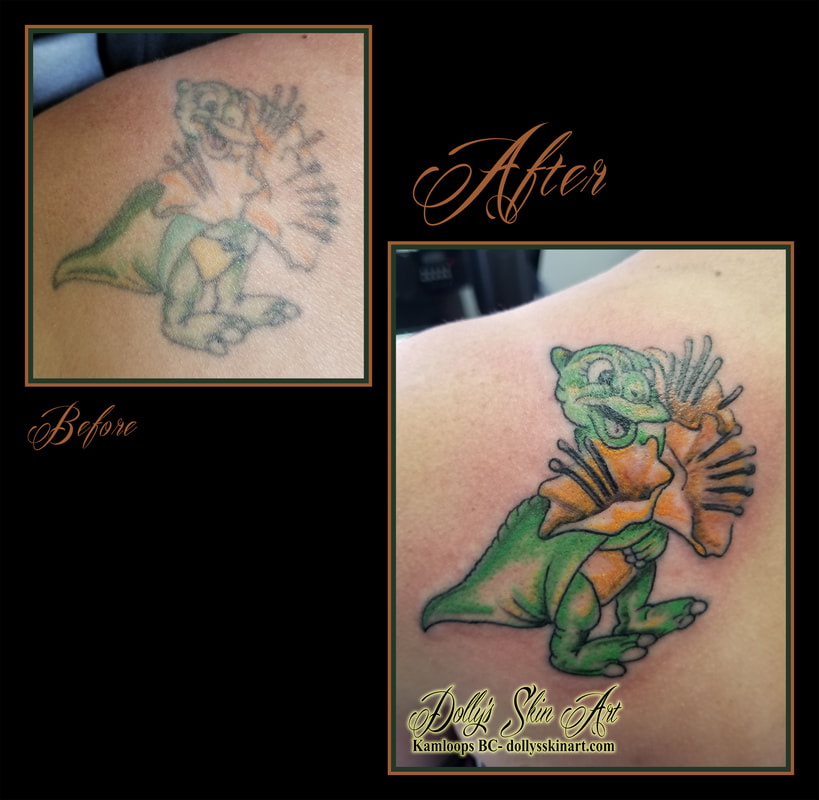 ducky from the land before time movie animated cartoon green yellow cover up rejuvenate back tattoo kamloops tattoo dolly's skin art