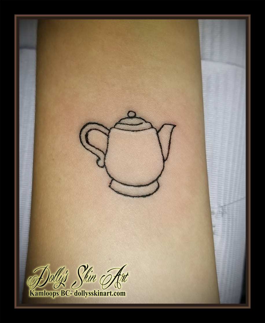 Nostalgic teapot simple small tiny linework outline tattoo kamloops dolly's skin art