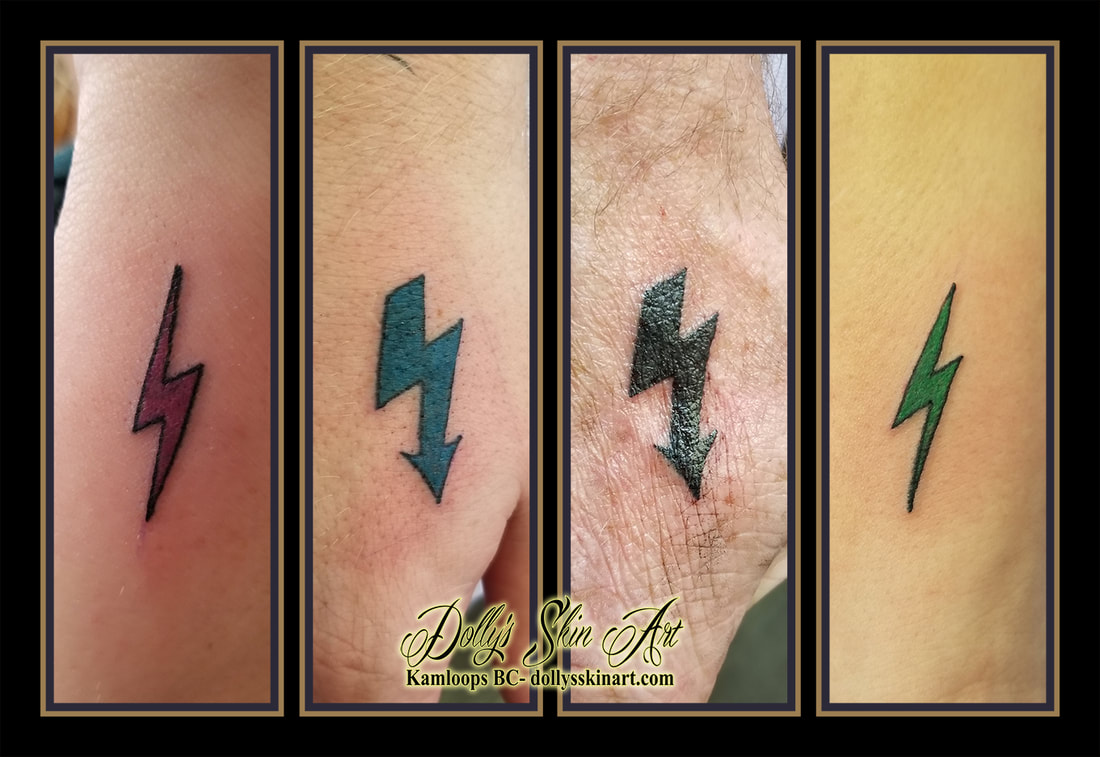 small simple matching friends lightning bolt pink teal blue purple black green tattoo kamloops dolly's skin art
