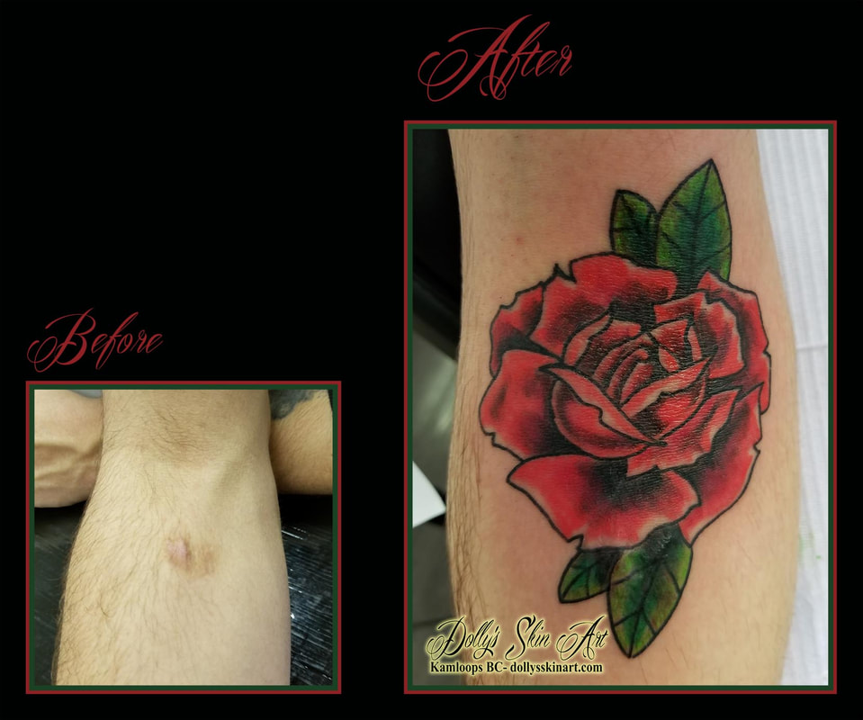 red rose green scar cover up forearm before after tattoo kamloops dolly's skin art