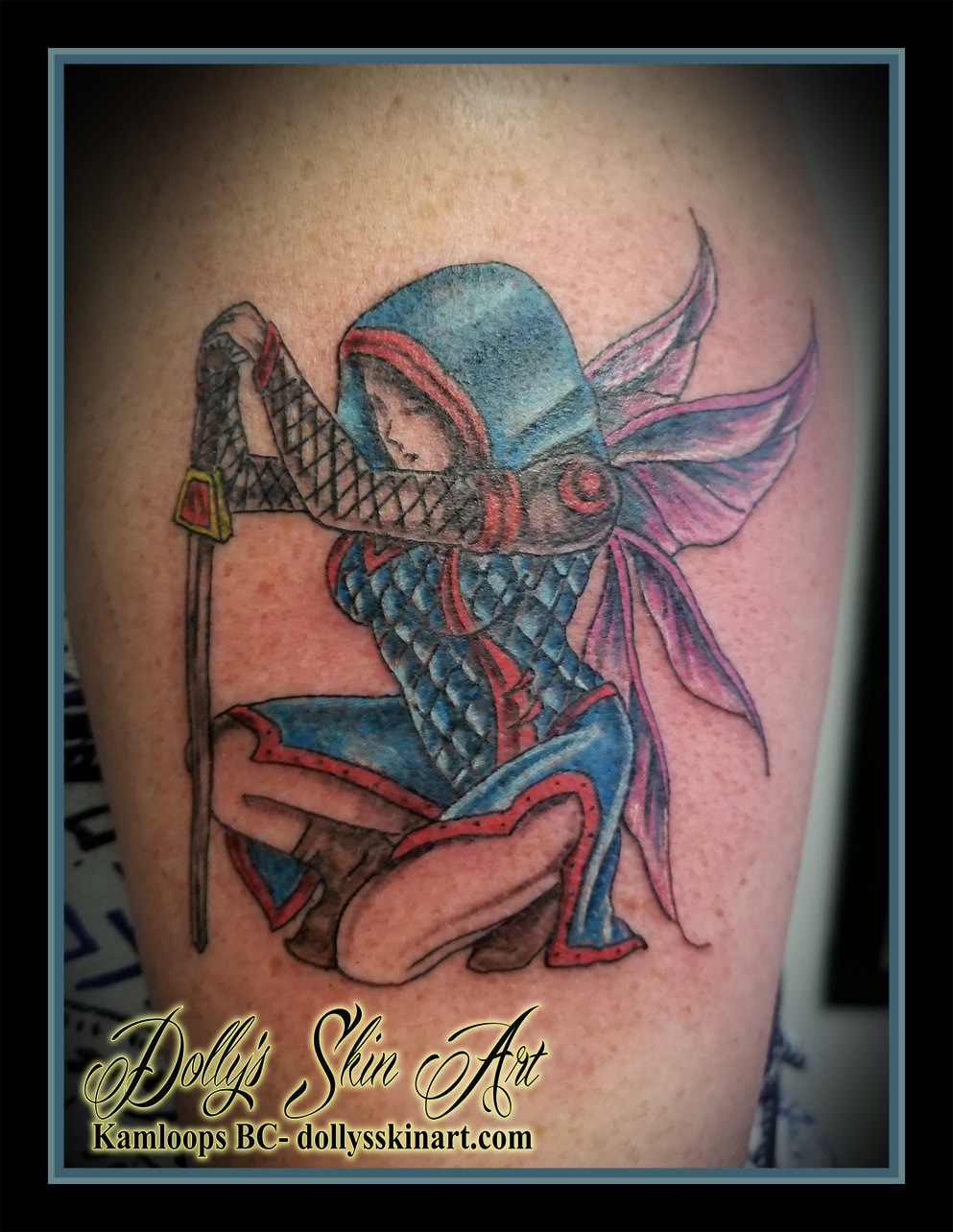 warrior fairy faerie colour kneel blue red purple tattoo kamloops dolly's skin art