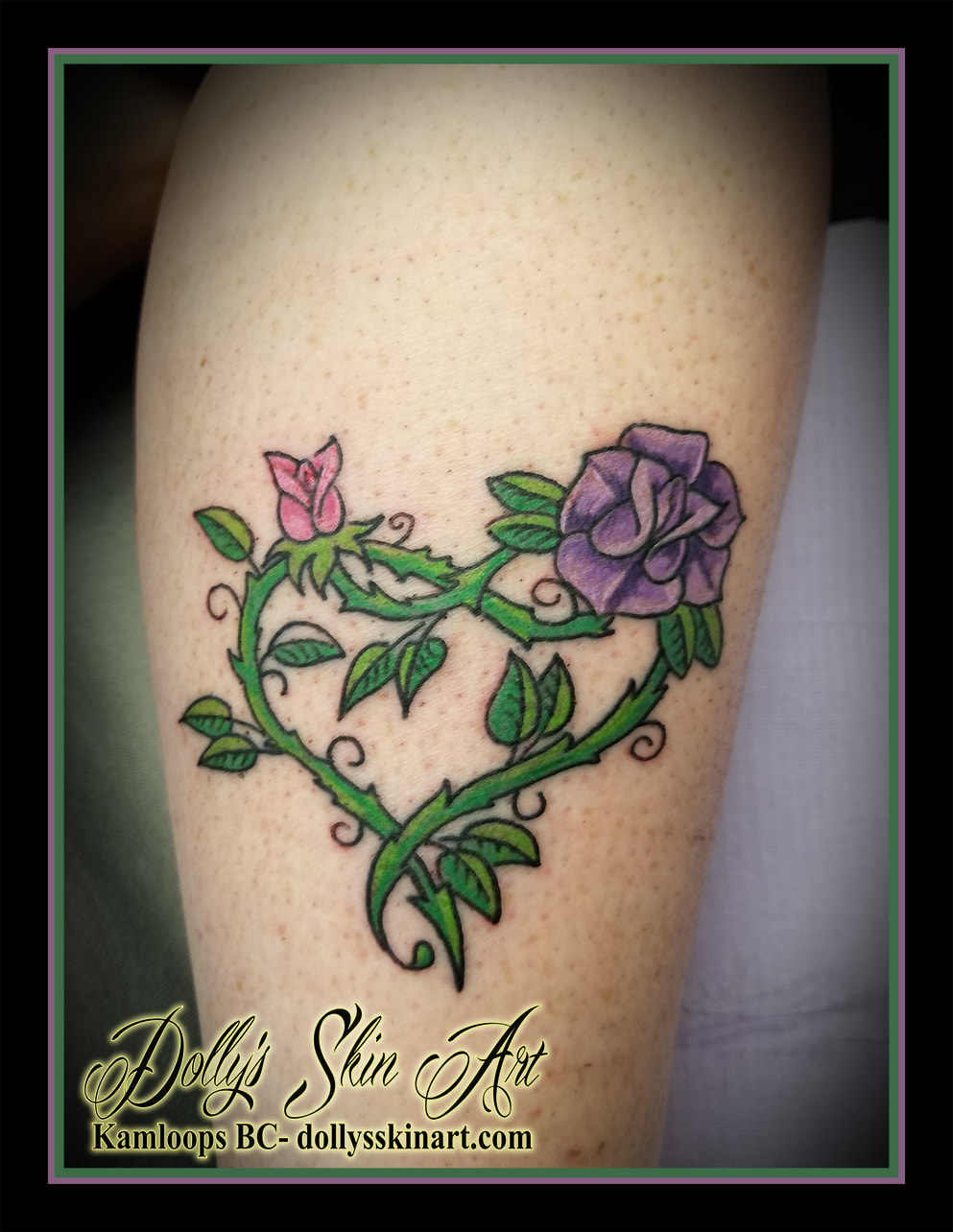 leg tattoo flower rose vine leaf green purple pink heart kamloops dolly's skin art