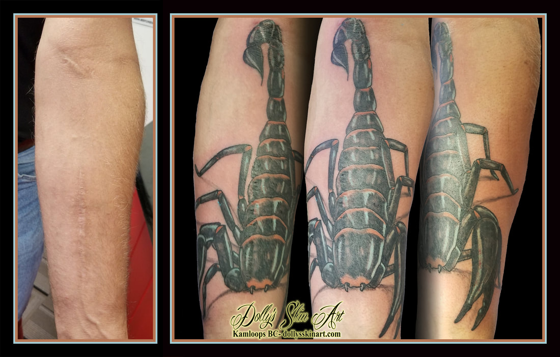 scar cover up forearm scorpion colour black blue orange tattoo kamloops dolly's skin art