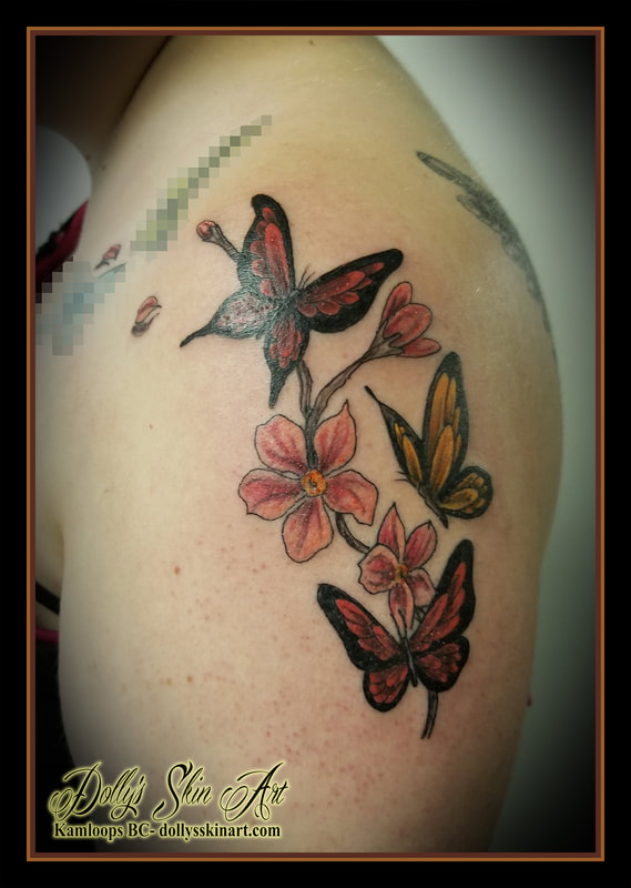 color colour butterflies butterfly cherry blossom pink yellow red shoulder tattoo kamloops dolly's skin art