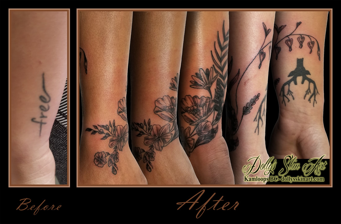 black and grey floral flower coverup bouquet wrist kamloops tattoo dolly's skin art