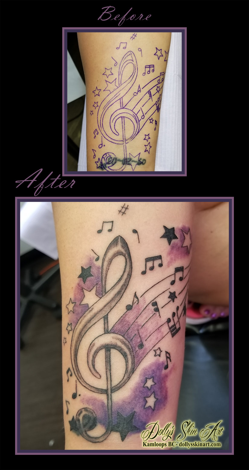 treble clef music notes shading black grey purple stars cover up tattoo kamloops dolly's skin art