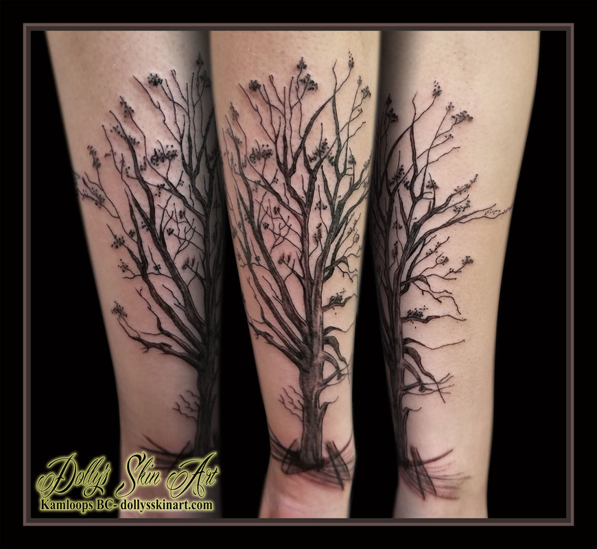 black and grey linework shaded fruit orchard tree cross hatch forearm sleeve addition tattoo kamloops dolly's skin art