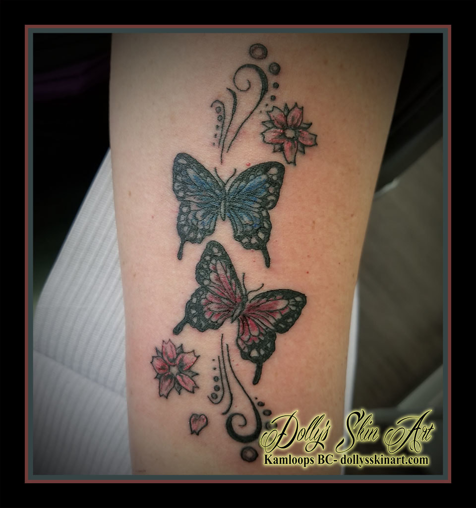 butterfly filigree cherry blossom pink blue black colour tattoo kamloops dolly's skin art