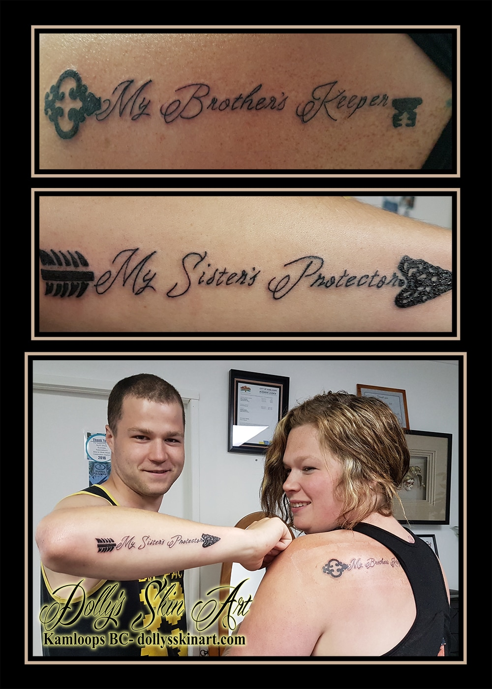 my brother's keeper my sister's protector arrow key matching tattoo font lettering black kamloops dolly's skin art