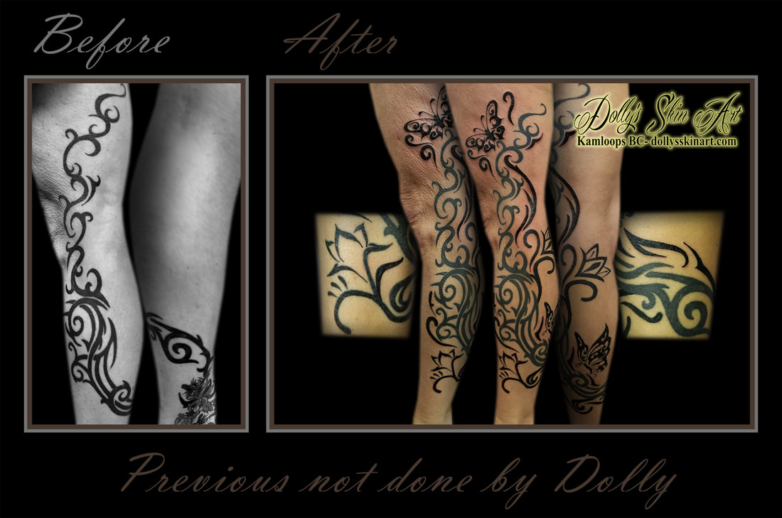 black tribal custom leg sleeve flowers butterflies adding tattoo kamloops dolly's skin art
