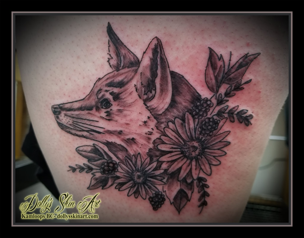 black and grey shaded fox head flowers thigh tattoo kamloops dolly's skin art