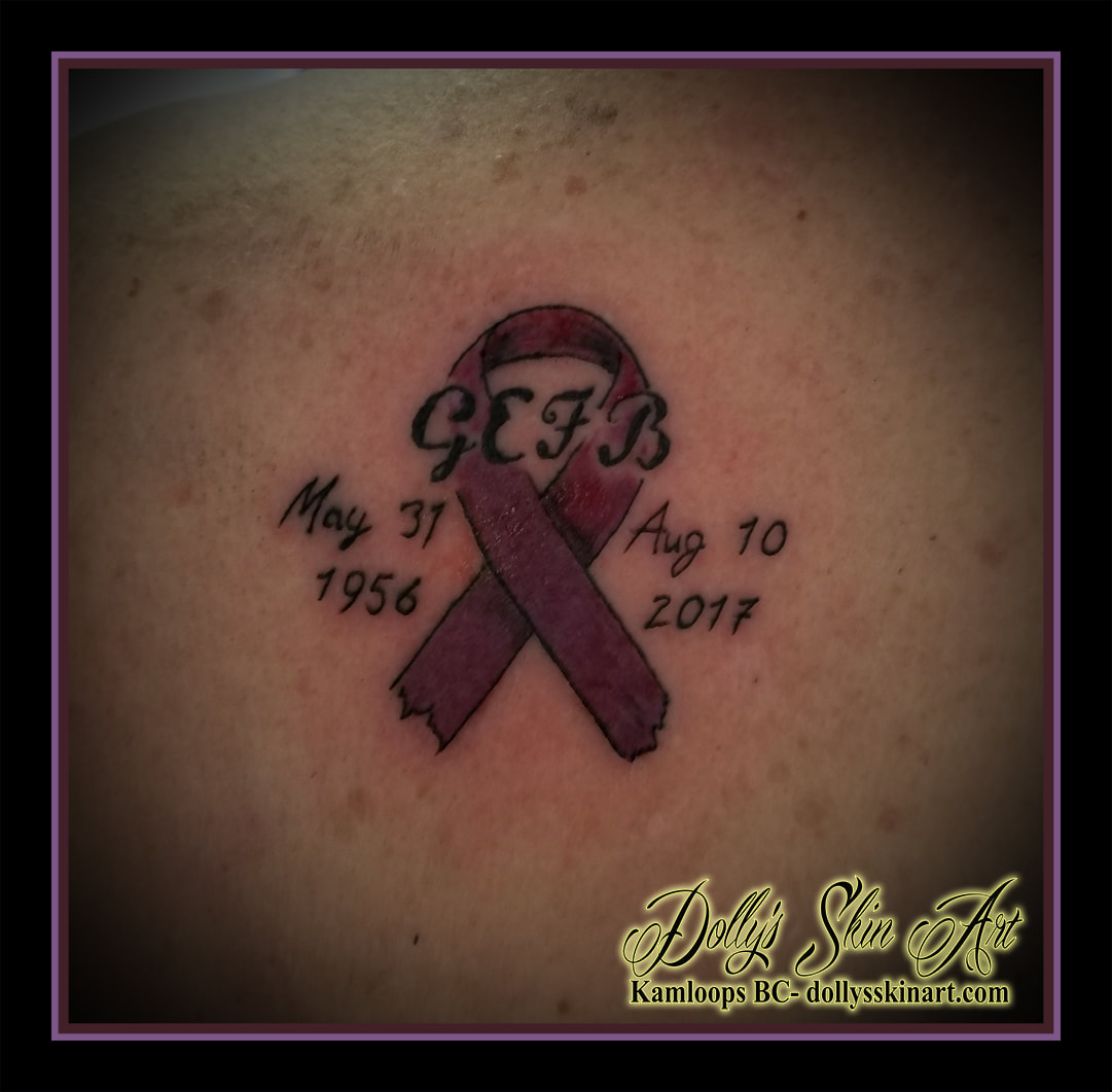 GEFB may 31 1956 aug 10 2017 pink cancer ribbon memorial tribute lettering font kamloops tattoo dolly's skin art