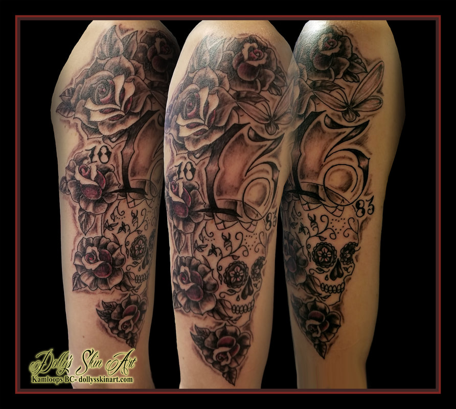 memorial black and grey traditional roses sugar skull 13 dates font lettering butterfly pink arm tattoo kamloops dolly's skin art