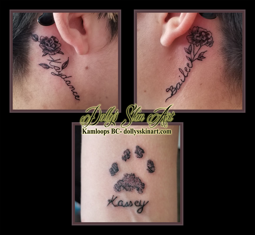black and grey rose marigold cat paw children kaydance bailey kassey font lettering shading behind ear wrist kamloops tattoo dolly's skin art