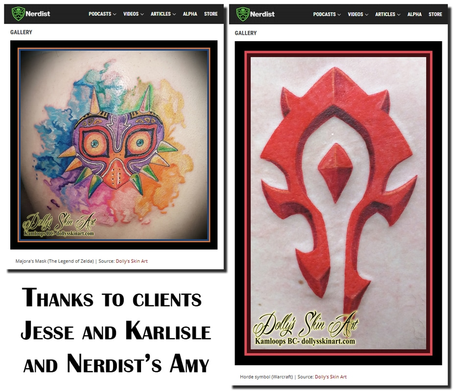 Nerdist Inked Wednesday 138 legend of zleda majora's mask watercolour tattoo Jesse warcraft horde red logo Karlisle tattoo kamloops dolly's skin art