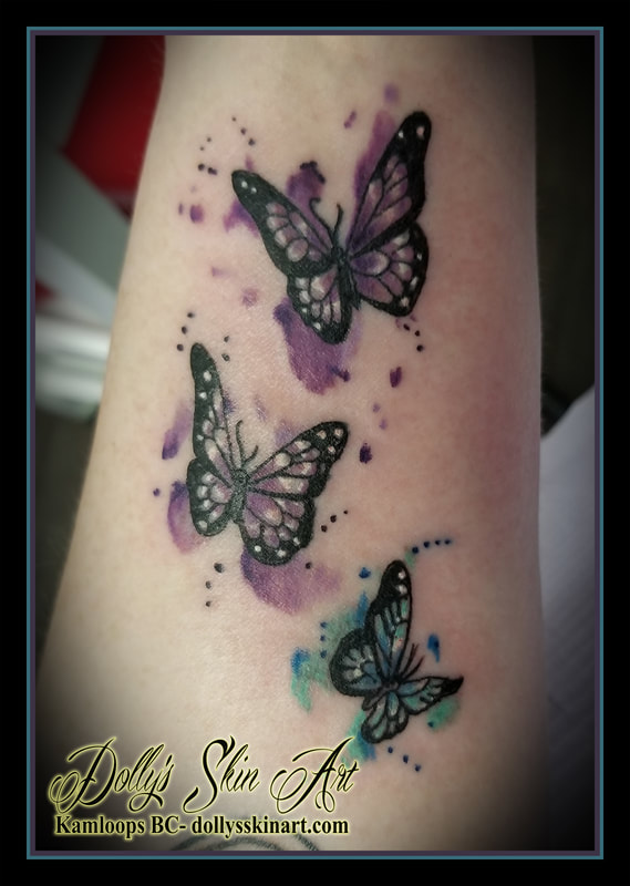 blue purple black white watercolour butterfly butterflies small tiny tattoo kamloops dolly's skin art