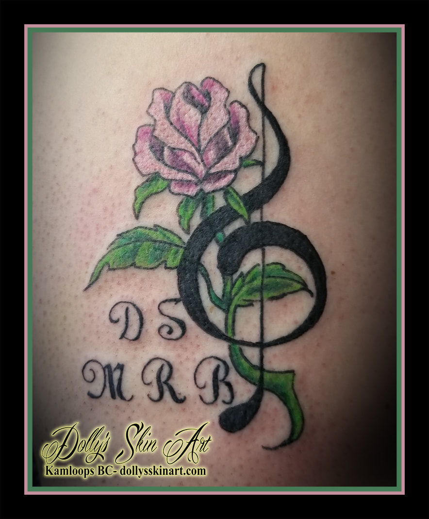 rose treble clef green pink black lettering font d s m r b tattoo kamloops dolly's skin art