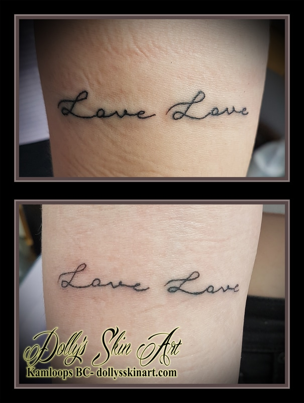 Love Love black text font lettering matching tattoo kamloops dolly's skin art