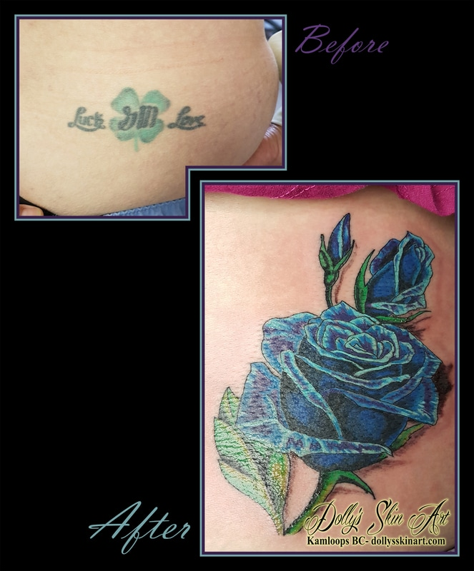 blue and green rose roses cover up tattoo kamloops dolly's skin art
