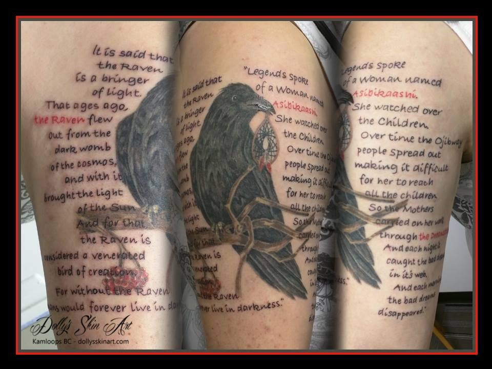 legends the raven the dreamcatcher lettering font black red tattoo dolly's skin art kamloops