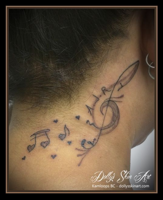 black music treble clef initials memorial tattoo kamloops dollys skin art