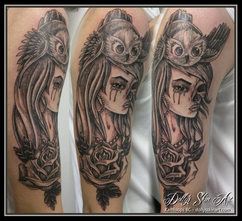black and grey skull girl owl rose shading tattoo kamloops dolly's skin art sleeve