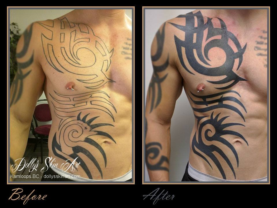 Keaton black tribal solid tattoo chest ribs kamloops dolly's skin art