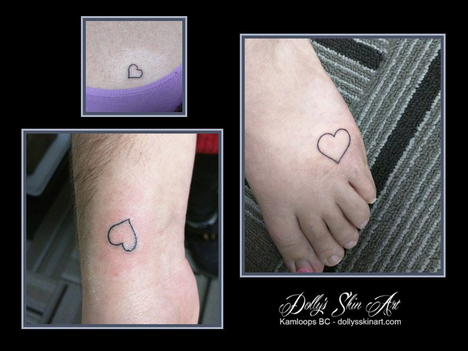 small black matching friendship heart outline tattoo kamloops dolly's skin art