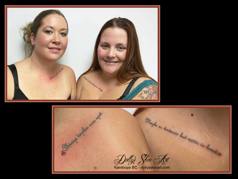 always together never apart maybe in distance never in heart lettering font tattoo kamloops dolly's skin art