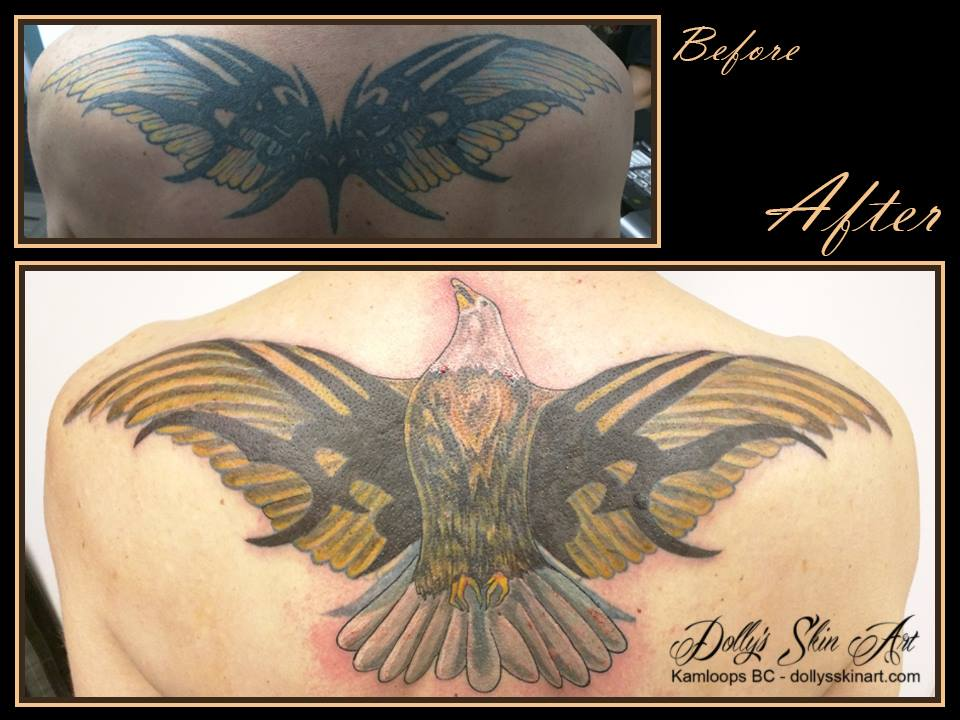 colour tribal wing cover up eagle back tattoo wip in progress