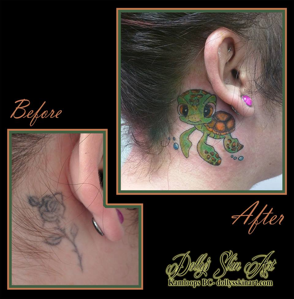 finding nemo squirt colour turtle cover up behind ear tattoo kamloops dolly's skin art