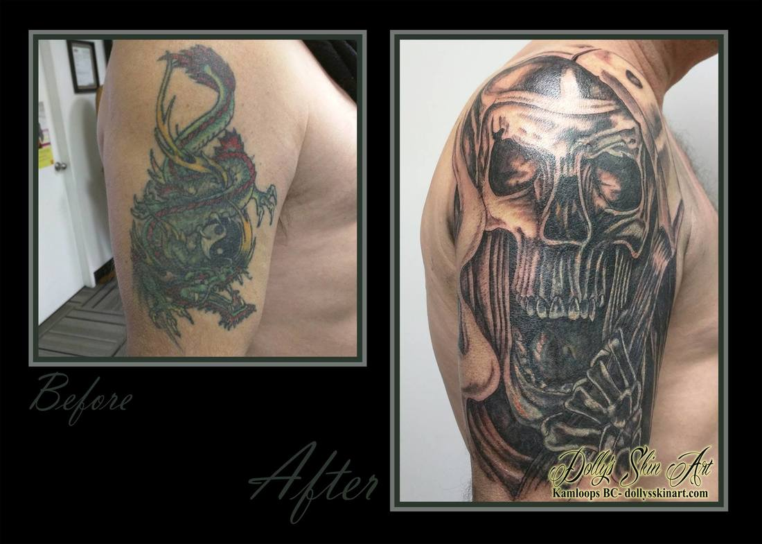 black and grey shading grim reaper skull cover up shoulder dragon before and after tattoo kamloops dolly's skin art