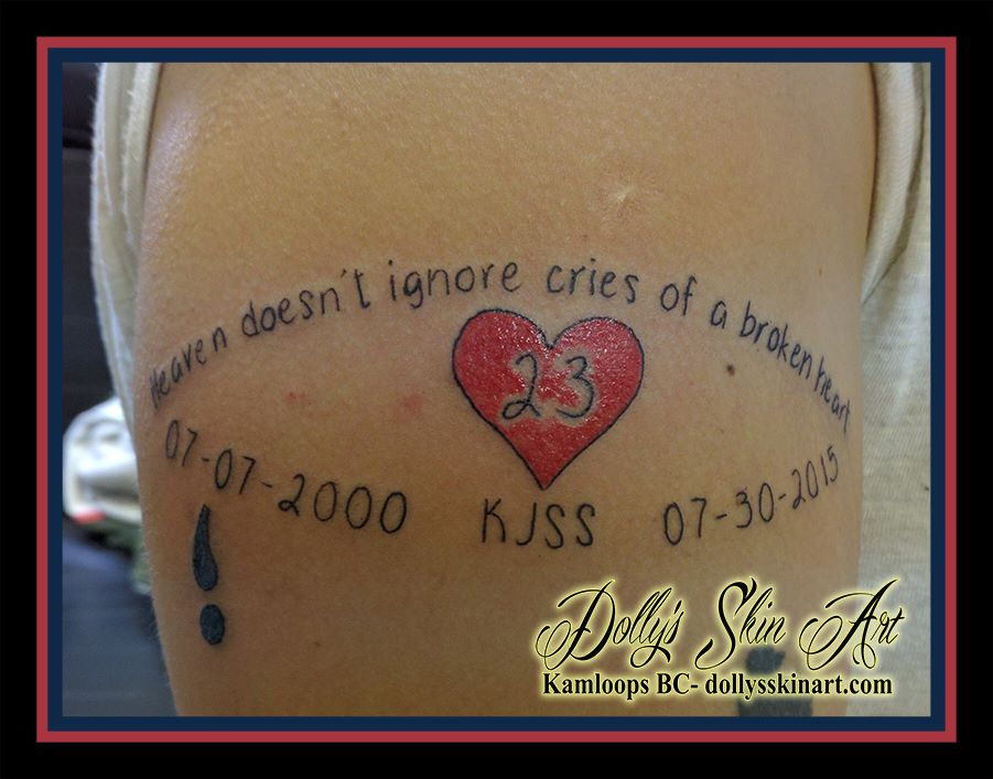 Heaven doesn't ignore cries of a broken heart semicolon memorial eye lettering font tattoo kamloops dolly's skin art
