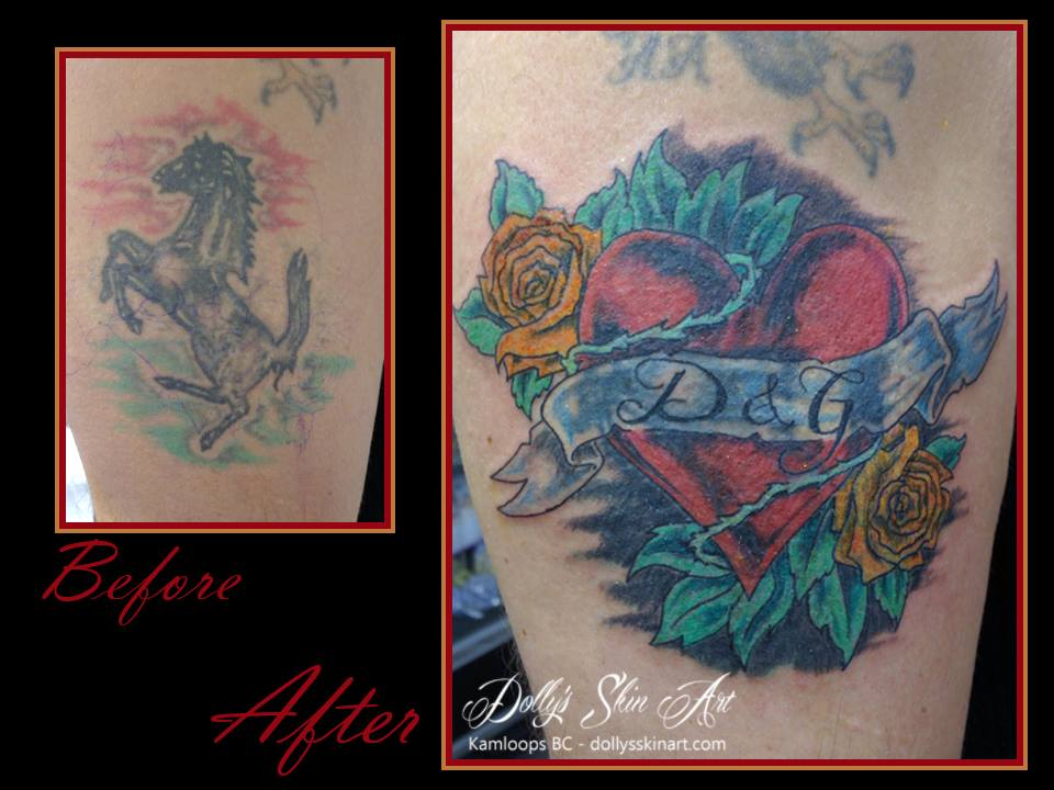 heart banner rose colour cover up tattoo