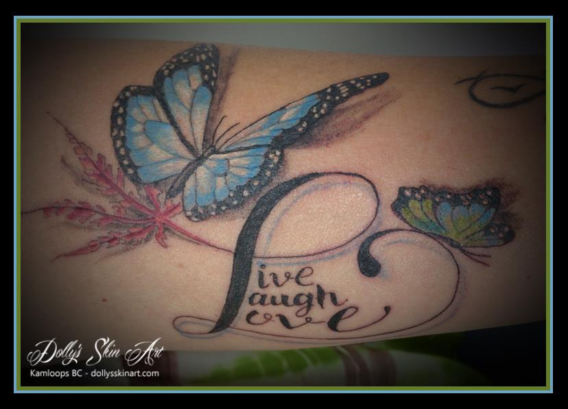 butterflies japanese maple live laugh love colour tattoo