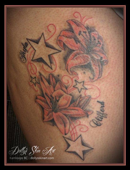stars and lillies colour font tattoo