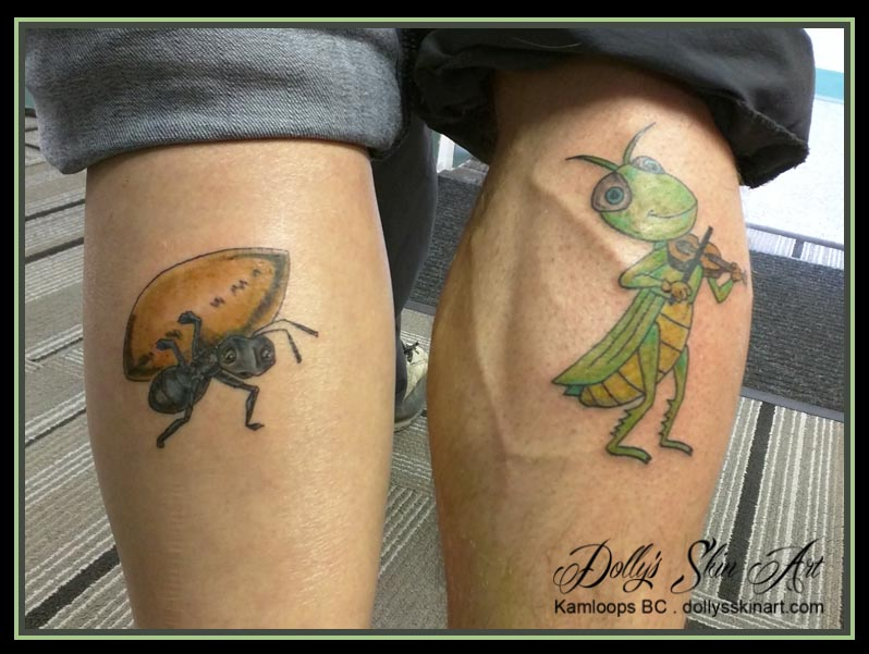 ant grasshopper sibling colour leg tattoo