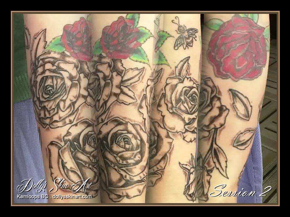 Laura's rose sleeve tattoo shaded