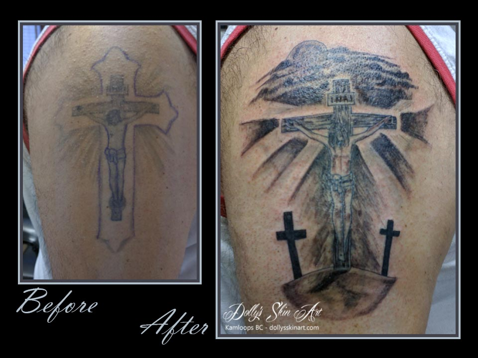 rejuvenate coverup black crucifixion christ cross tattoo renew
